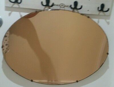 ANTIQUE WALL MIRROR Rose COLOURED oval