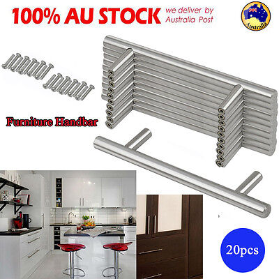 Simple 20Pack T Bar Stainless Steel Kitchen Cabinet Cupboard Door Drawer Handles