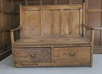 Early 1800s English Pine Antique Country Settle With Drawers