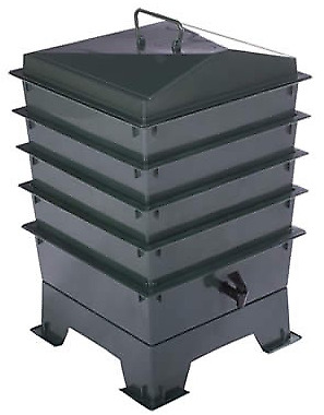Green  STANDARD TIGER RAINBOW WORMERY, 4 x Stacking Tray, COMPOST BIN, New