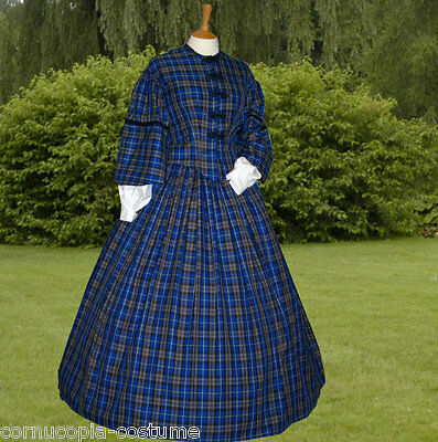 Victorian American Civil War 2pc mid Victorian costume made to order blue