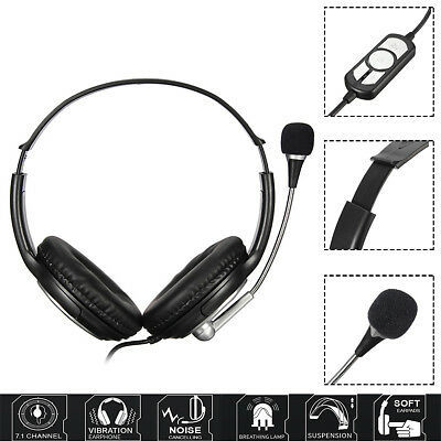 2M Wired USB Stereo Headphone Headset Earphone with Mic For PC Laptop Notebook