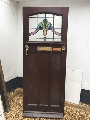 Stained Glass Front Door Reclaimed Period Old Edwardian Leaded Pine Wood 1910 20