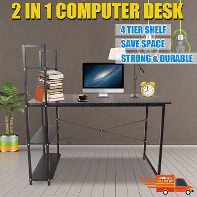New Computer Desk Table Storage Shelving Bookshelf Study Home Office Steel Frame