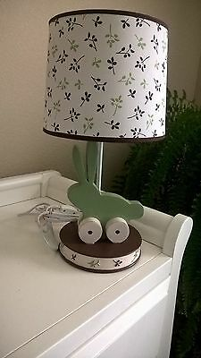 Lamp Kidsline Bunny Meadows Baby Nursery Sage Brown Green HTF Retired