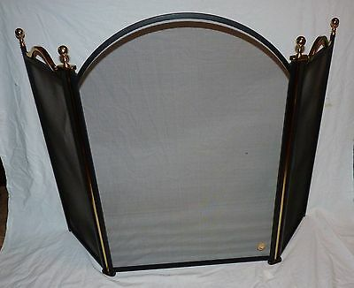 Vintage Virginia Metalcrafters Fireplace Screen, Brass Accents, Black Frame.
