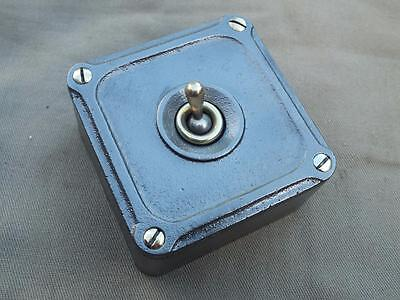 Vintage 1 Gang Cast Iron & Brass Industrial Light Switch By Britmac