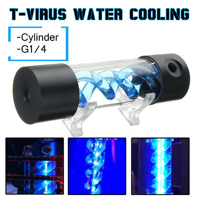 G1/4 200mm Cylinder T-Virus Reservoir Helix Suspension Water Liquid Cooling Tank