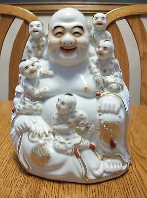 Vintage Porcelain Chinese Famille Rose Asian Qing Gold Buddha Statue Figurine