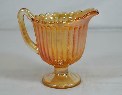 Vintage Imperial Marigold Carnival Glass Footed Creamer - Stippled Rays