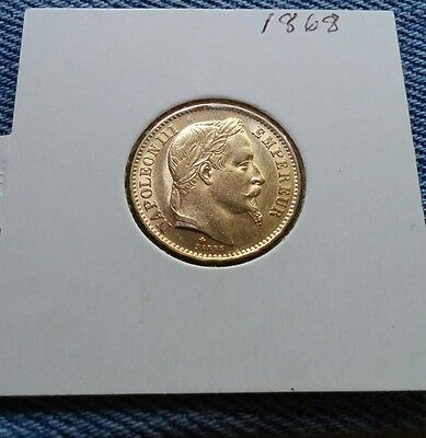 1868 Bb Gold France 20 Francs Napoleon Iii Coin High Au Free Shipping