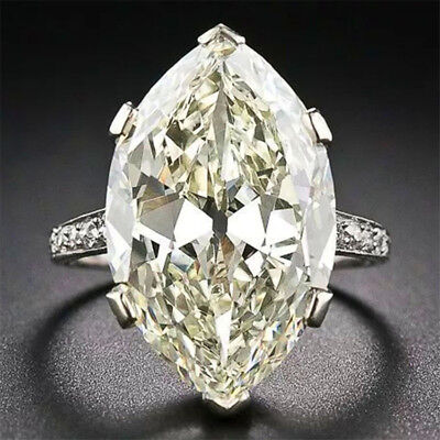 2.8CT White Topaz 925 Silver Jewelry Wedding Engagement Ring Size 6-10