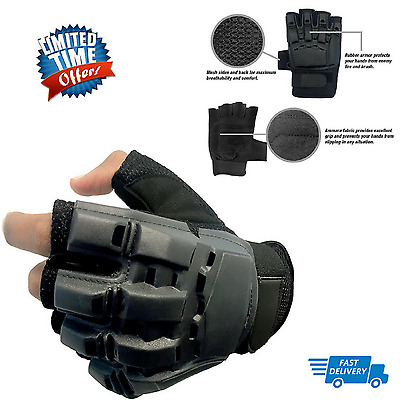 Tactical Fingerless Man's Gloves Motorbike Military Combat Knuckle Black Large