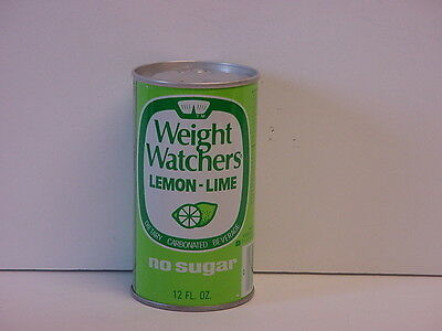 Vintage 1976 Weight Watchers Lemon Lime Steel Push Button Bottom Opened Soda Can