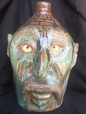 "Unique Yellow Eyed ""tough Man"" Face Jug By Billy Joe Craven"