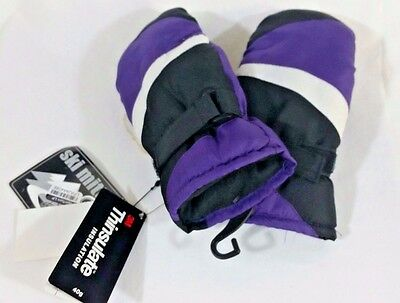 Thinsulate Youth 40g Waterproof Snow Ski Mittens, Purple Gloves, Size 4/6X - NEW