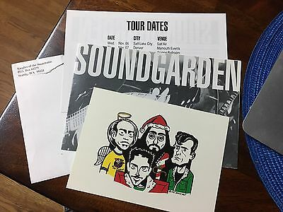 1996 Soundgarden Official Fan Club Holiday Postcard, Poster, Etc