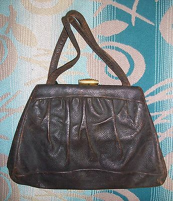 1 Vintage 1930s 1940s PROTECTO Old Brown Leather Purse Handbag