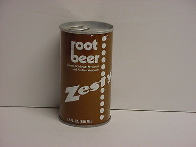 Vintage Zesty Root Beer Straight Steel Pull Tab Bottom Opened Soda Can