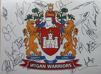 """Wigan Warriors 2017 Signed 16"""" x 12"""" Rugby League Photo x 20 inc Sam Tomkins etc"""