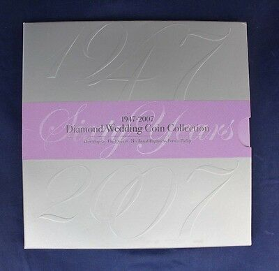 "2007 Royal Mint 9 coin set ""Diamond Wedding Collection"" in Folder   (D9/47)"