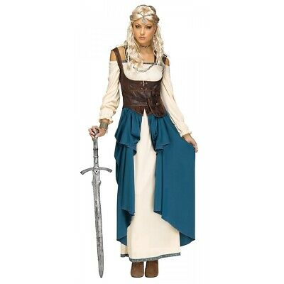 Viking Shield Maiden Costume Adult Queen Lagertha Medieval Fancy Dress