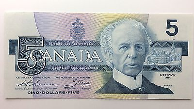 1986 Canada Five 5 Dollars GNM Series New Bill Note Uncirculated Banknote B043