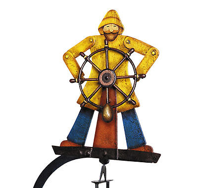 "Nautical Helmsman Sky Hook Sailor 20"" Teeter Totter Tin Balance Folk Art Toy New"