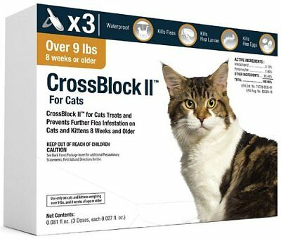 CrossBlock II Once a Month Topical Flea Prevention for Cats Over 9Lbs 3Pack