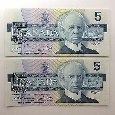 1986 Two Canada Consecutive Five 5 Dollars FNY Series Uncirculated Banknote B046