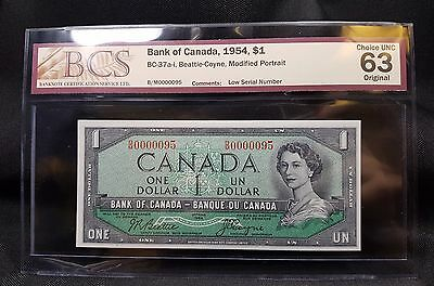 1954 Canada $1 Bank Note - BC-37a-i - BCS UNC 63 - Low Serial - N-142