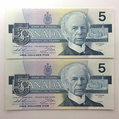1986 Two Canada Consecutive Five 5 Dollars EPV Series Uncirculated Banknote B048