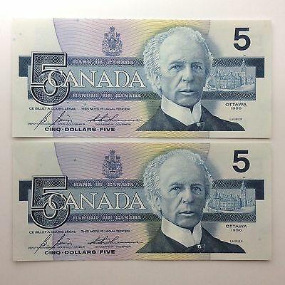1986 Two Canada Consecutive Five 5 Dollars GOA Series Uncirculated Banknote B049
