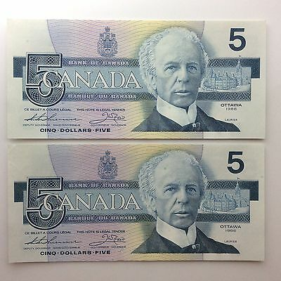 1986 Two Canada Consecutive Five 5 Dollars EPV Series Uncirculated Banknote B050