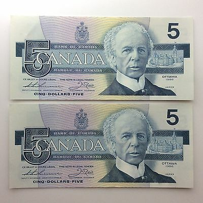 1986 Two Canada Consecutive Five 5 Dollars EPV Series Uncirculated Banknote B051