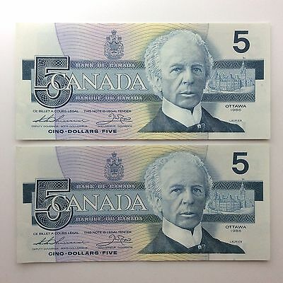 1986 Two Canada Consecutive Five 5 Dollars EPY Series Uncirculated Banknote B052