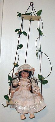 THE ROSE COLLECTION, Doll PORCELAIN DOLL IN SWING MARKED Limited Edition 1-5000