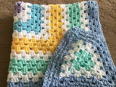 Christmas In July - New Handmade Baby Blanket/afghan - Blue/yellow/green