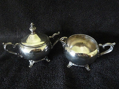 CREAMER & SUGAR (with Lid) SET - Silver Plate - Unknown Maker