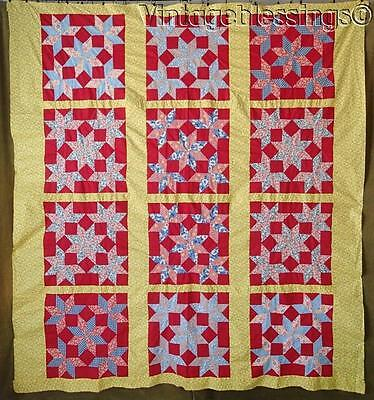 "Excellent! Bright Cheerful Vintage Stars All Around QUILT TOP 81"" x 76"""