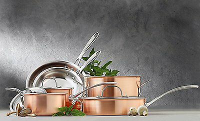 Red Copper 4 Pieces Cookware Copper Set With Lids Saucepan