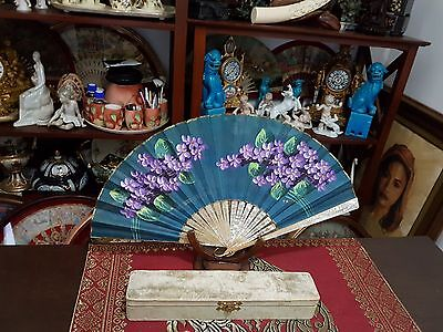 Antique mother-of-pear handfan , hand painting,  with box  XX /  XIX century