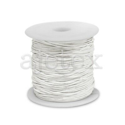 1 Roll 70M Waxed Cotton Cord Jewellery Craft Beading Thread Thong 0.8mm White