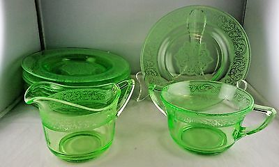 10 Pcs. Cambridge Glass Apple Green Florentine - 8 Salad Plates, Creamer, Sugar
