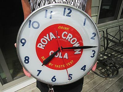 VINTAGE 1950's ROYAL CROWN COLA PAM CLOCK RUNS GREAT RESTORED RC COLA EXT RARE
