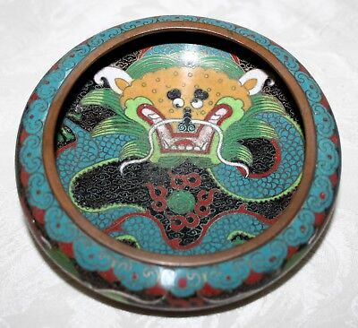 Antique Colourful Chinese Qing Dynasty Cloisonne Dragon Bowl