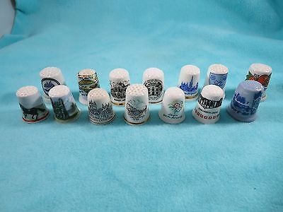 14 Miscellaneous Thimbles - Travel - Currier & Ives - Cathedrals - Castles