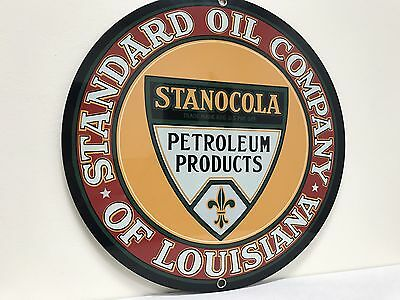 Standard Oil  Company Of Louisiana Stanocola Gas Gasoline  metal Round  sign