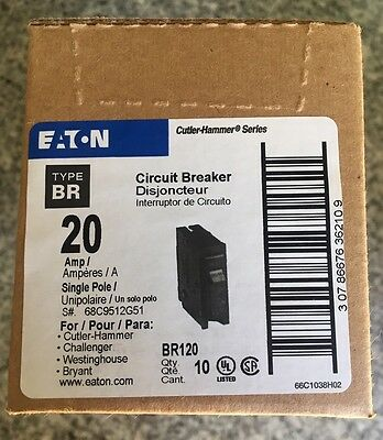New 10 Eaton Cutler-Hammer Br120 20 Amp Circuit Braker Single Pole