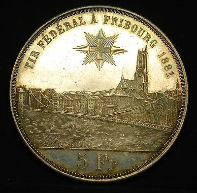 SWITZERLAND FRIBOURG 5 FRANCS SHOOTING THALER 5 FRANCS 1881 PROOF-LIKE RARE a11